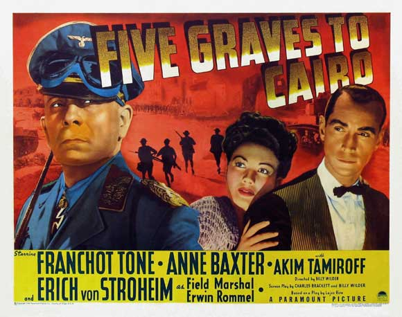 Image result for FIVE GRAVES TO CAIRO 1943 movie